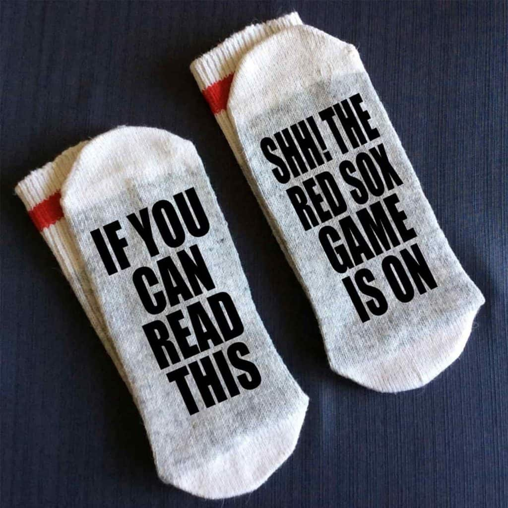"""Red Sox-Baseball Socks with text """"if you can read this, Shh! the red sox game is on"""""""