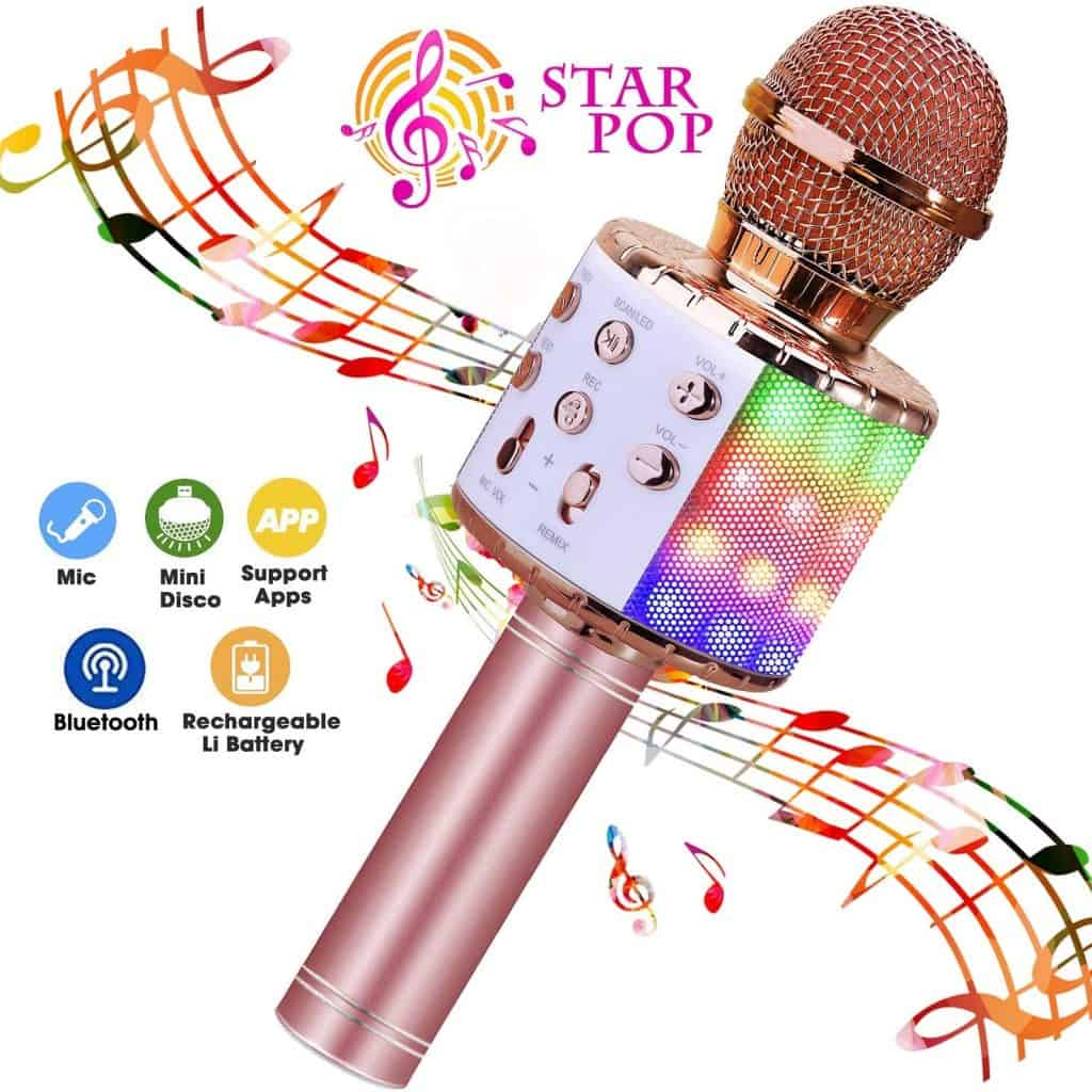 Bluetooth Karaoke Microphone in rose pink color - gifts for teen girls