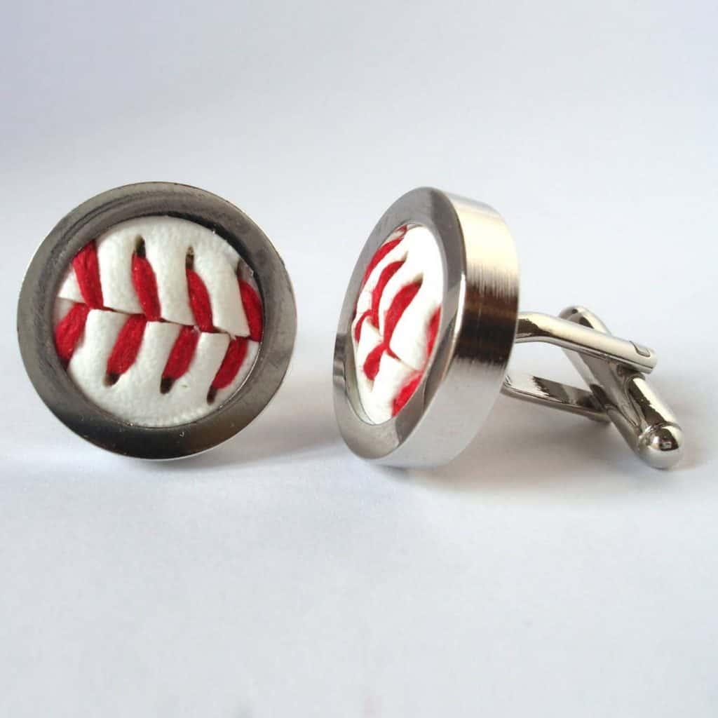 Groomsmen Cufflinks Real Baseball Cufflinks