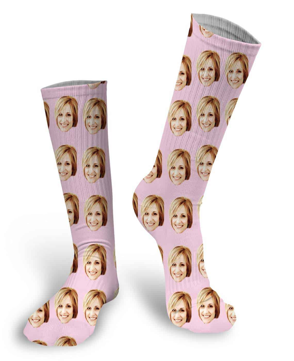 Custom Face Socks in pink color - gifts for teen girls