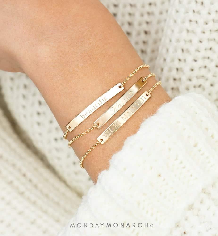 Dainty Gold Customized Bracelet for Women On Birthday