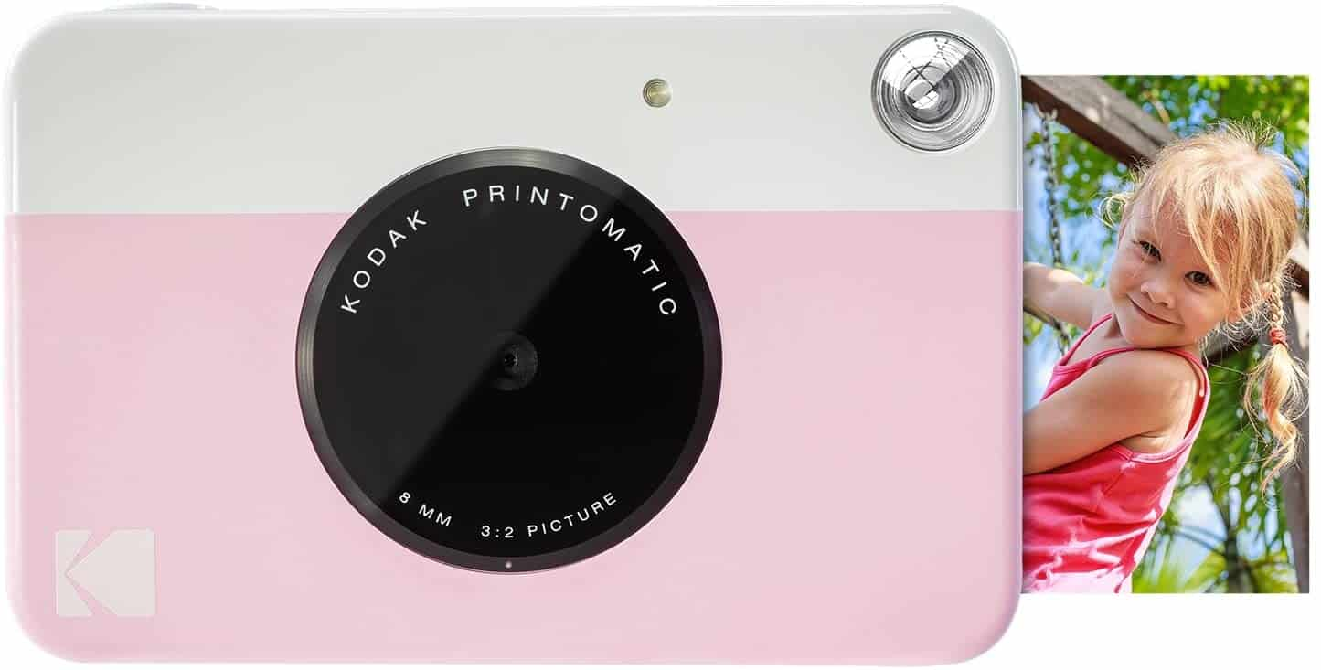 Instant Print Camera in light pink color