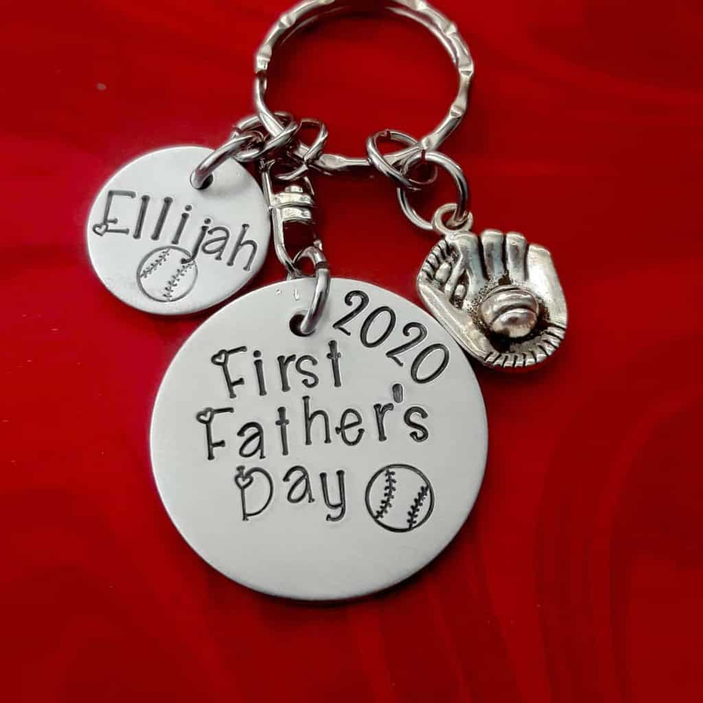 Personalized Father's Day Key Chain with baseball theme
