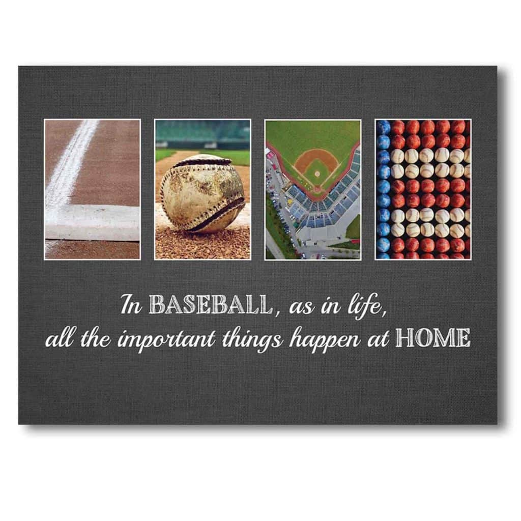 letter art canvas print using baseball theme