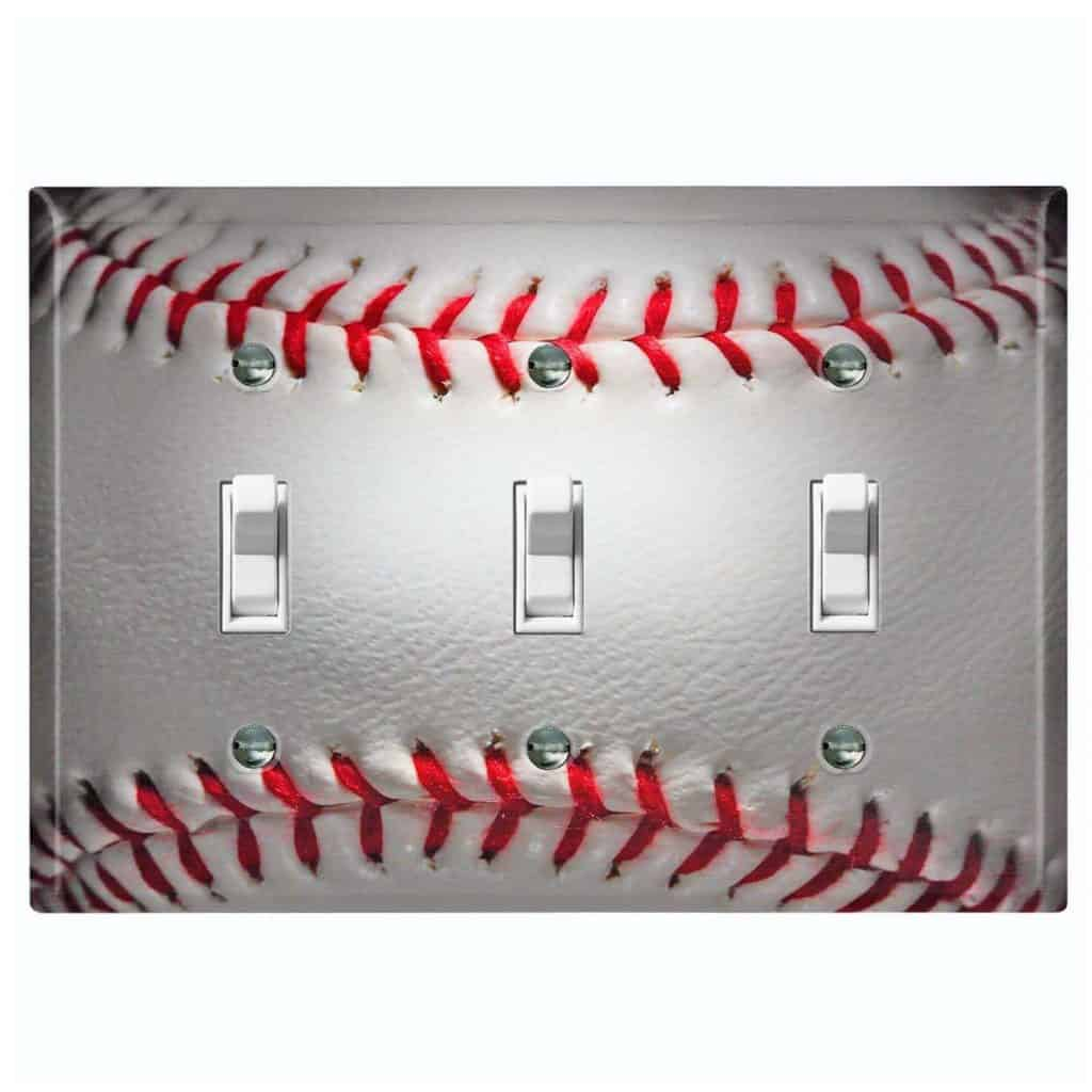 Baseball-themed Metal Wall Plate Cover for Light Switch Outlet Rocker - best baseball gifts