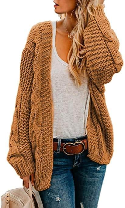 Long Sleeve Chunky Knit Cardigan Sweaters For Women