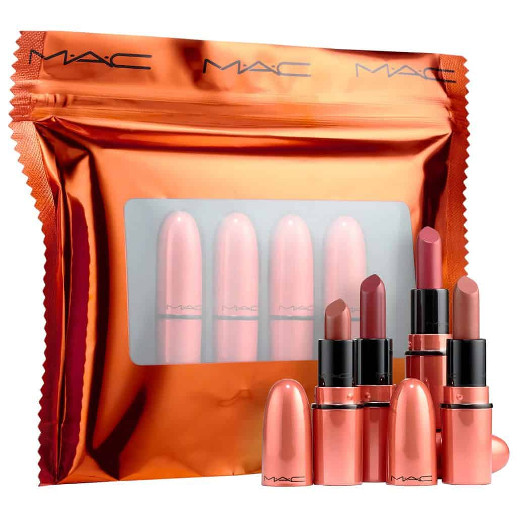 MAC Mini Lipstick Gift Set with 4 lipsticks in rose gold color - best gifts for teen girls