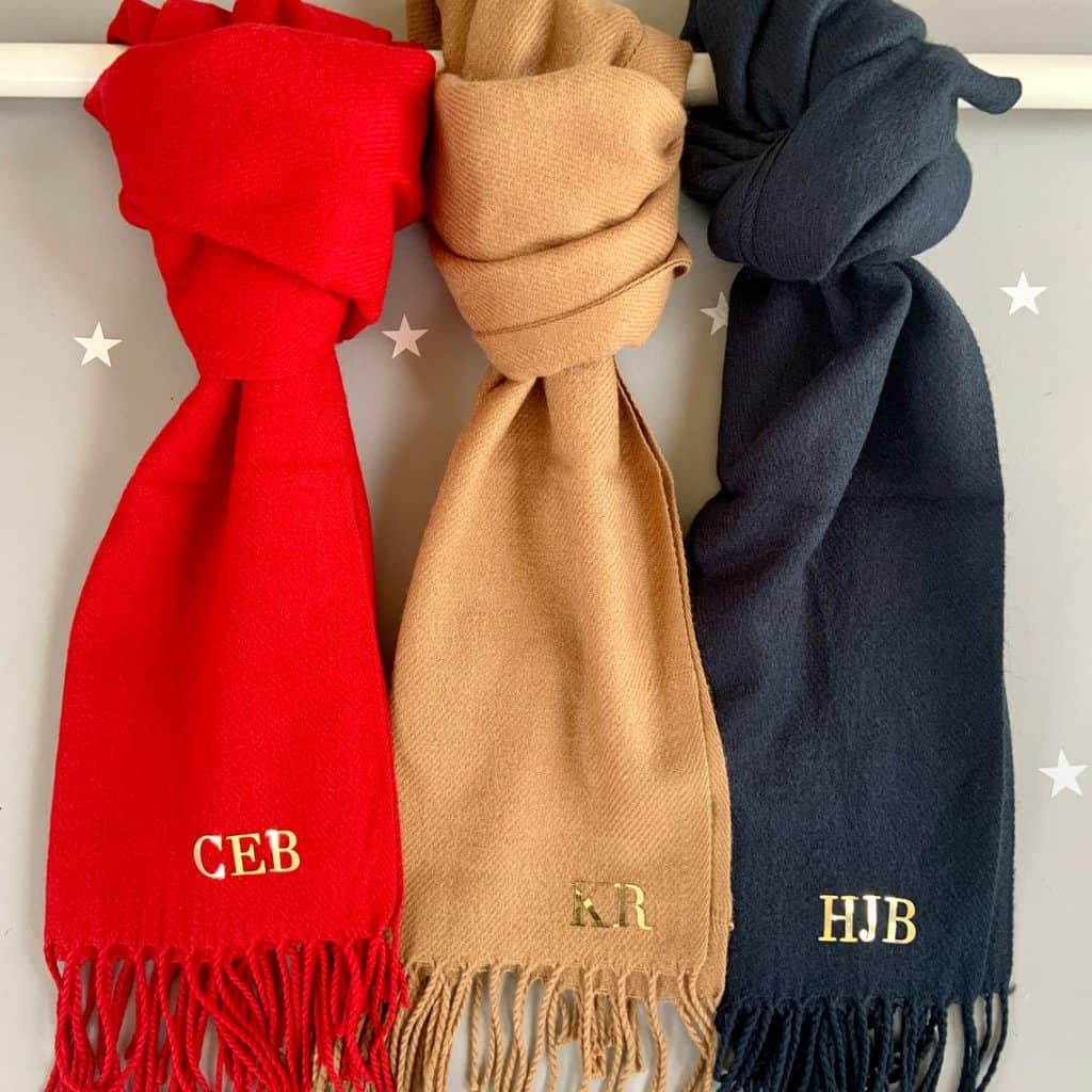Monogram Personalized Scarf in three different colors