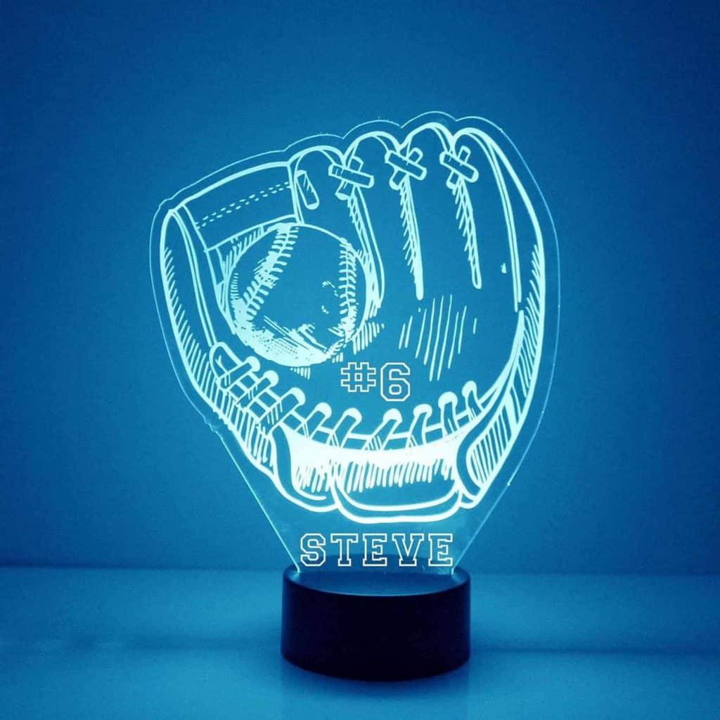 Personalized Baseball Glove Night Light - cool baseball gifts