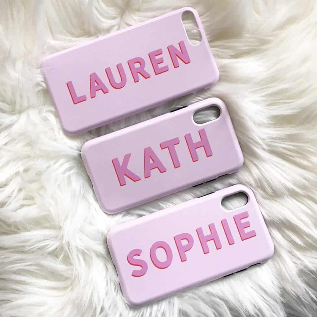 3 Personalized Phone Cases in pink color