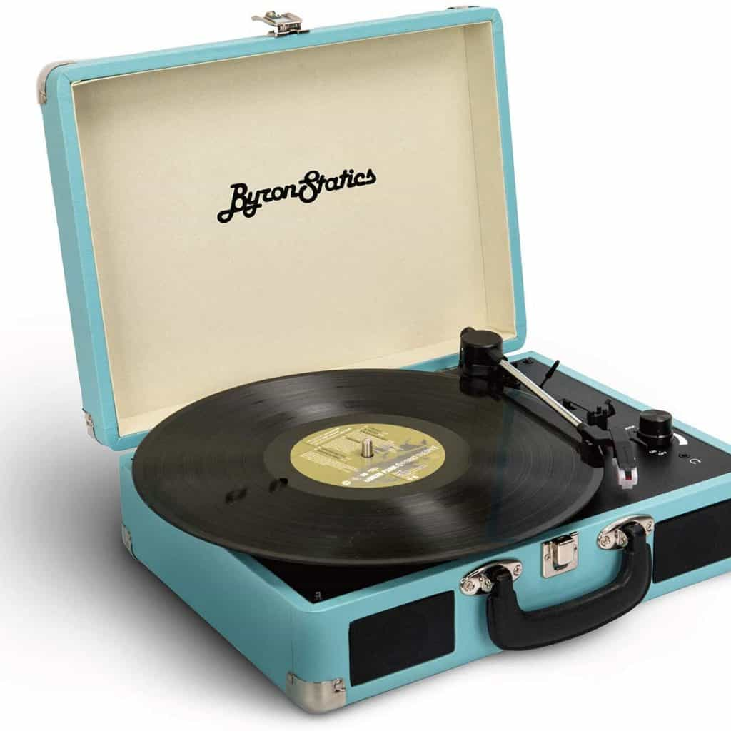 Record Player in shape of blue suitcase