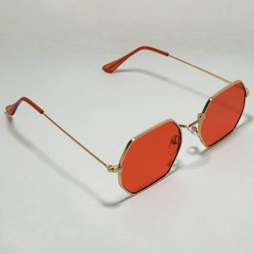 Retro Hexagon Sunglasses in orange color