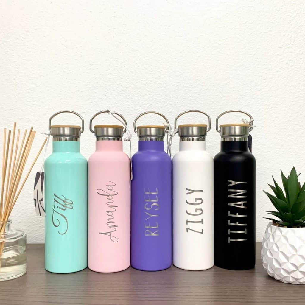 5 Stainless Steel Water Bottles with 5 different colors - gifts for teen girls