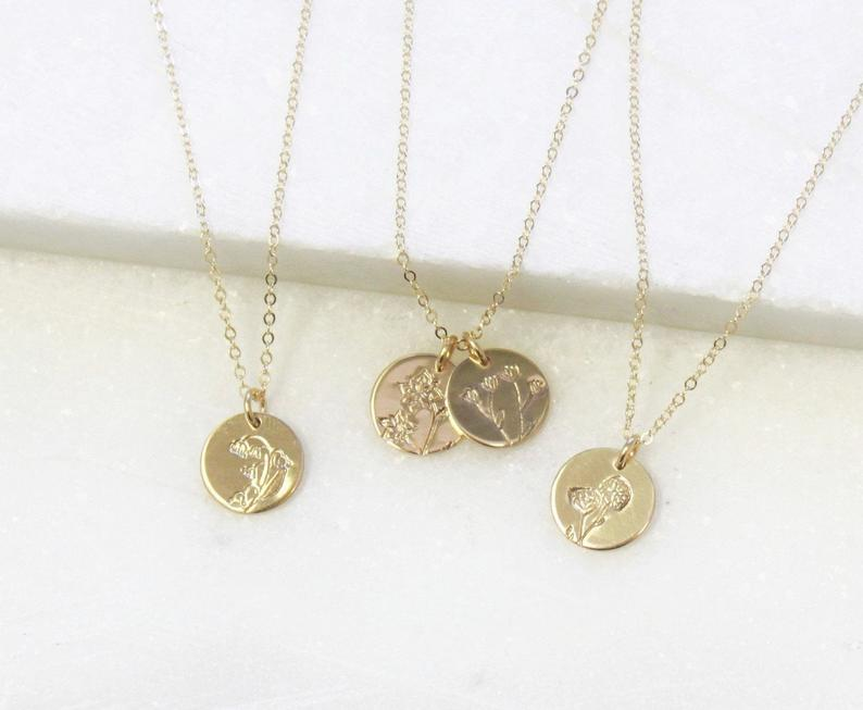 mom to be gift ideas: birth month flower charm necklace