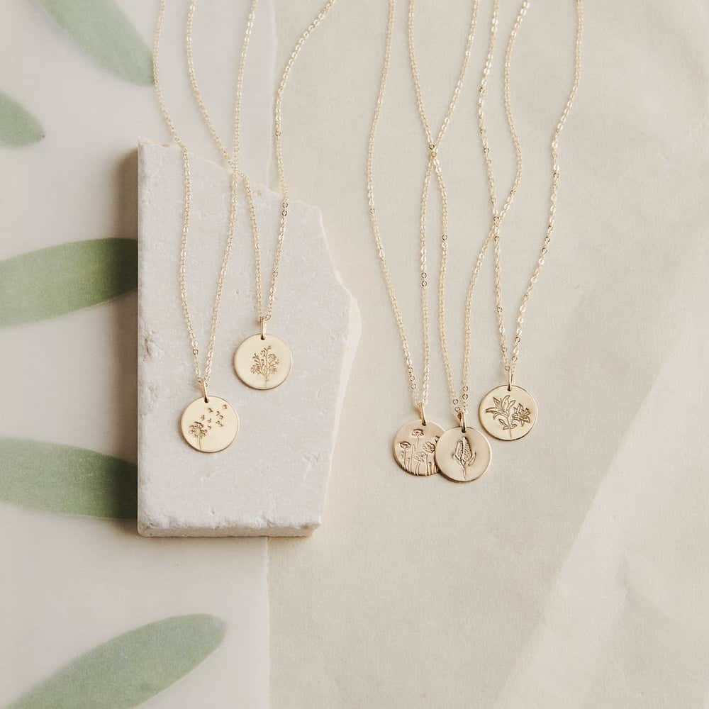 Floral Pendant Necklaces - Birthday Gift for Her