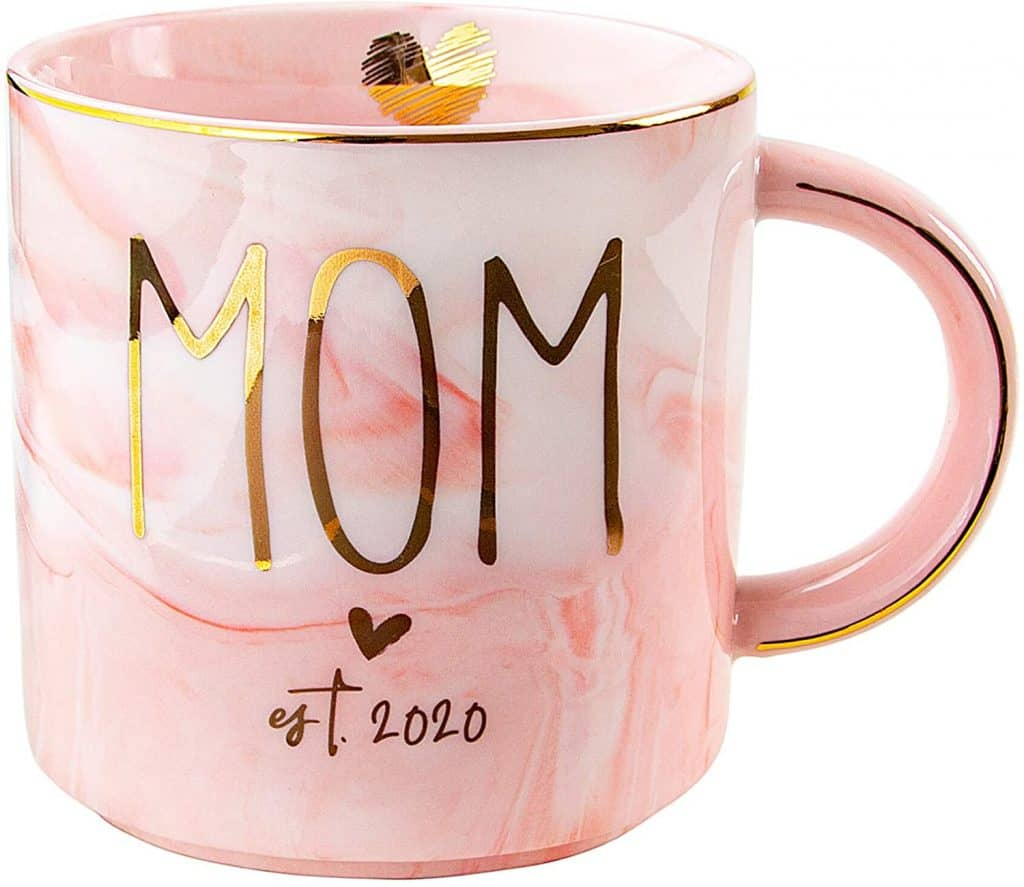 mom to be gift ideas: MOM pink marble ceramic mug
