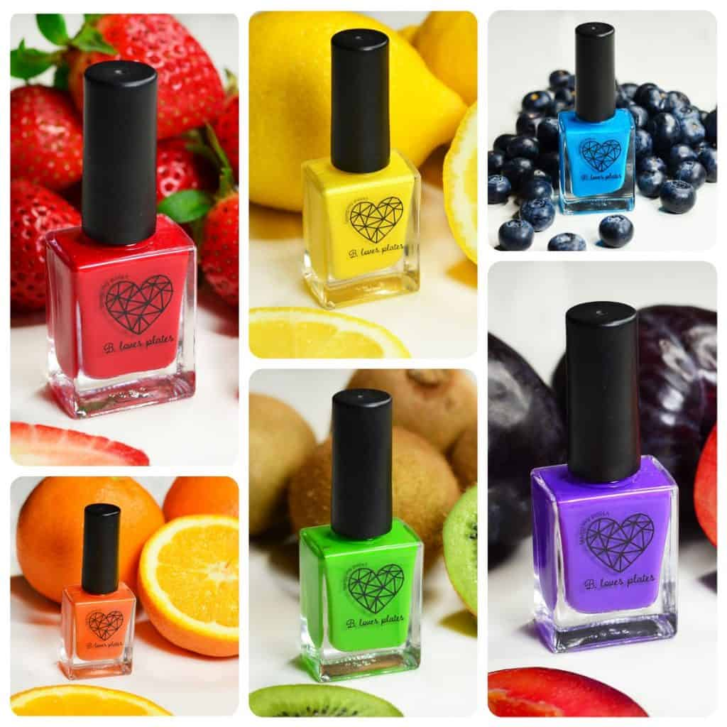 Nail Stamping Polish with 6 bottles in 6 different colors (red, yellow, blue, purple, green, orange)