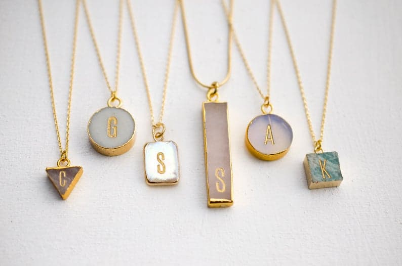 baby shower gift for mom: pastel initial necklace