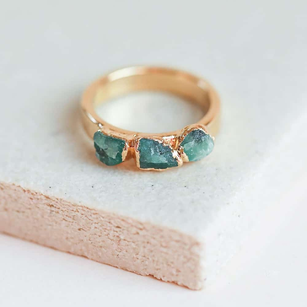 raw emerald ring birthday gift for her