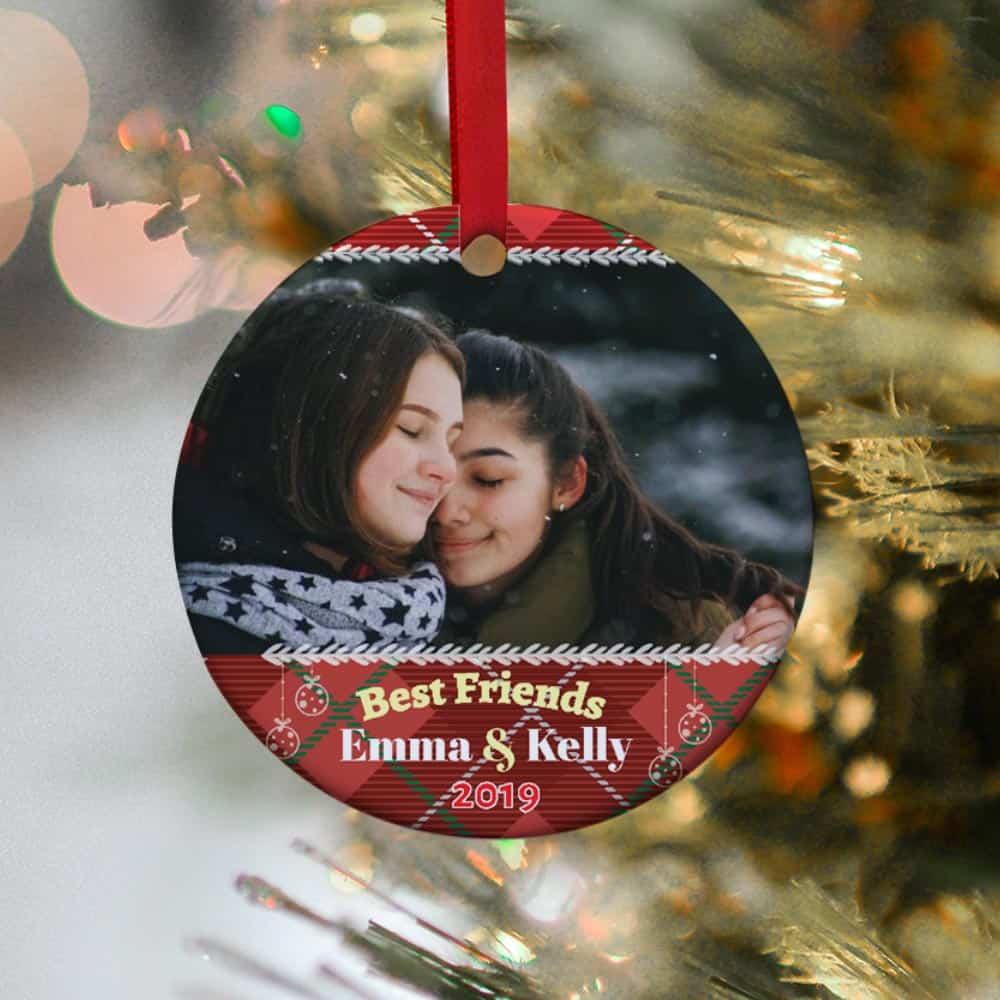 Best Friends Custom Photo Christmas Ornament