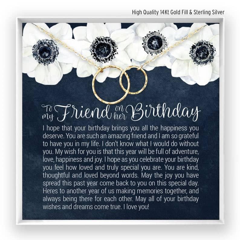 Happy Birthday BFF Necklace Gift