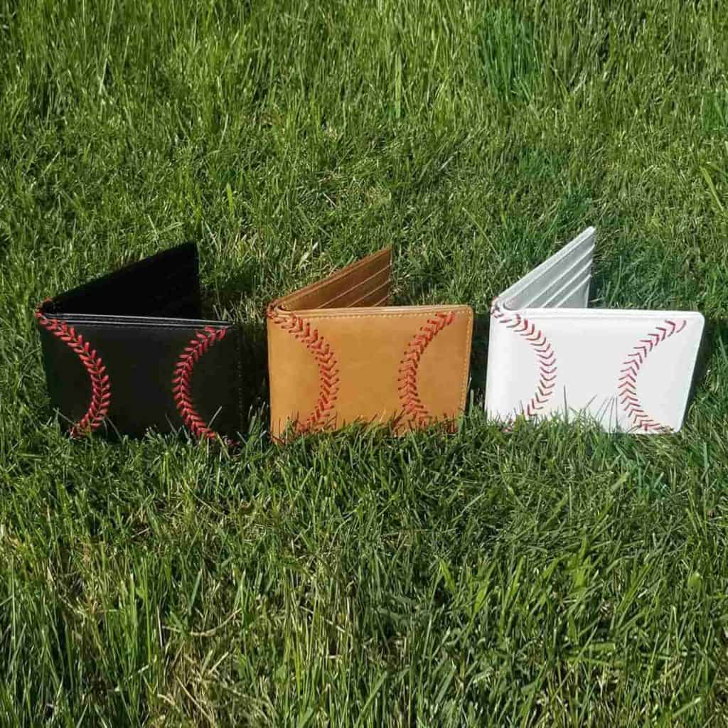 Leather Baseball Wallet with 3 colors
