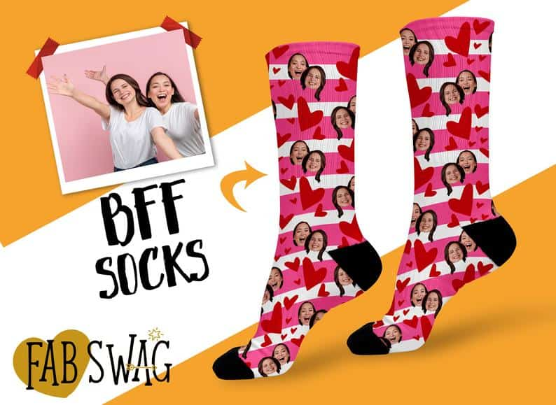 funny best friend gifts: bff custom socks