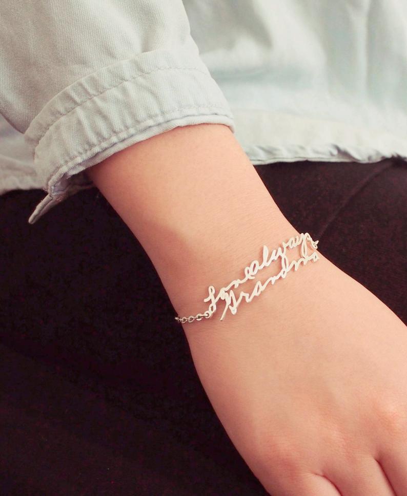 cute gift ideas for best friend: handwriting bracelet