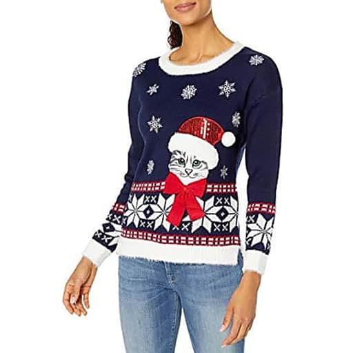 Dark Blue Cat Sweater - christmas gifts for grandma