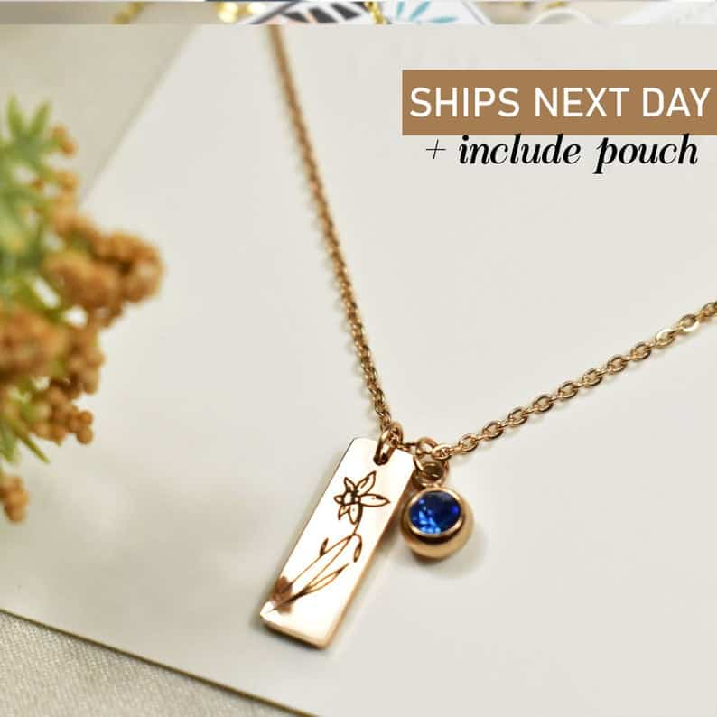 stocking stuffer ideas for wife: birth month flower necklace with birth stone