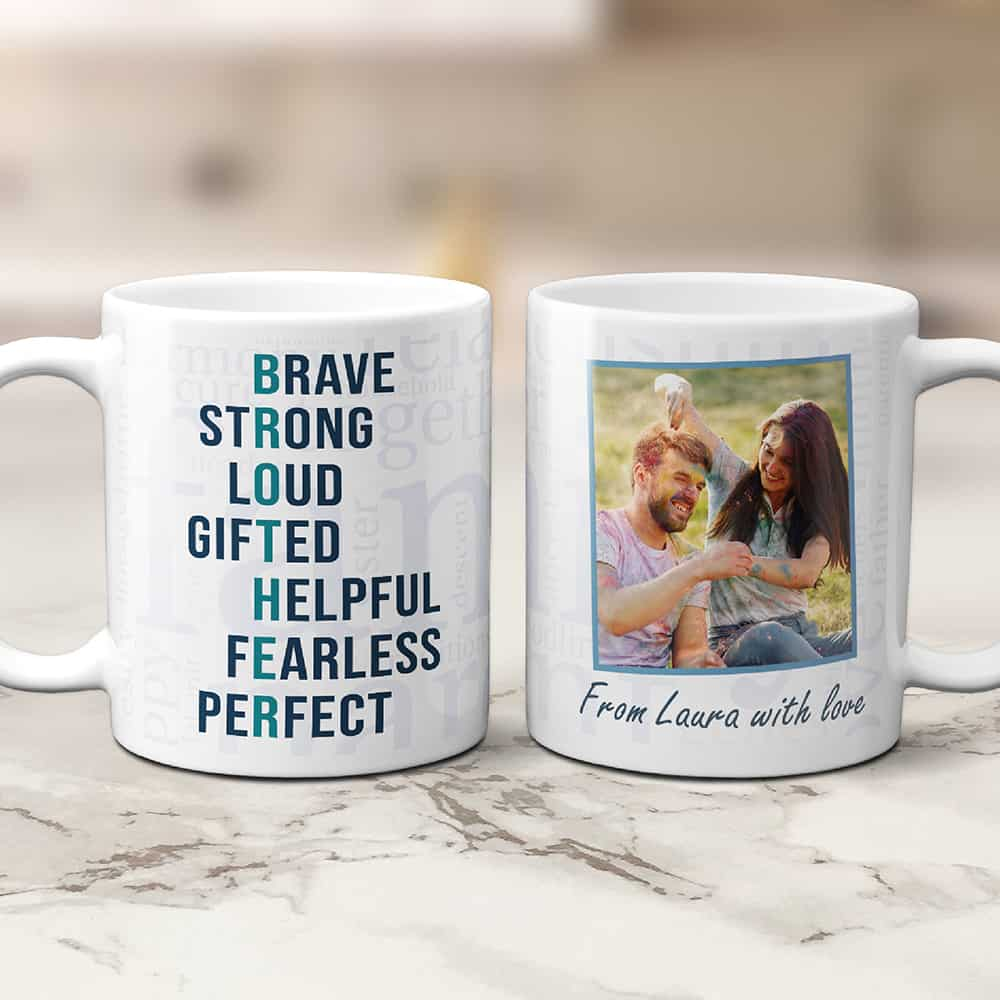 what to get your brother for christmas: brother acronym photo mug