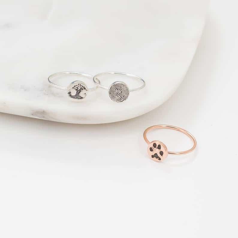 gift for pet lovers: custom paw print rings