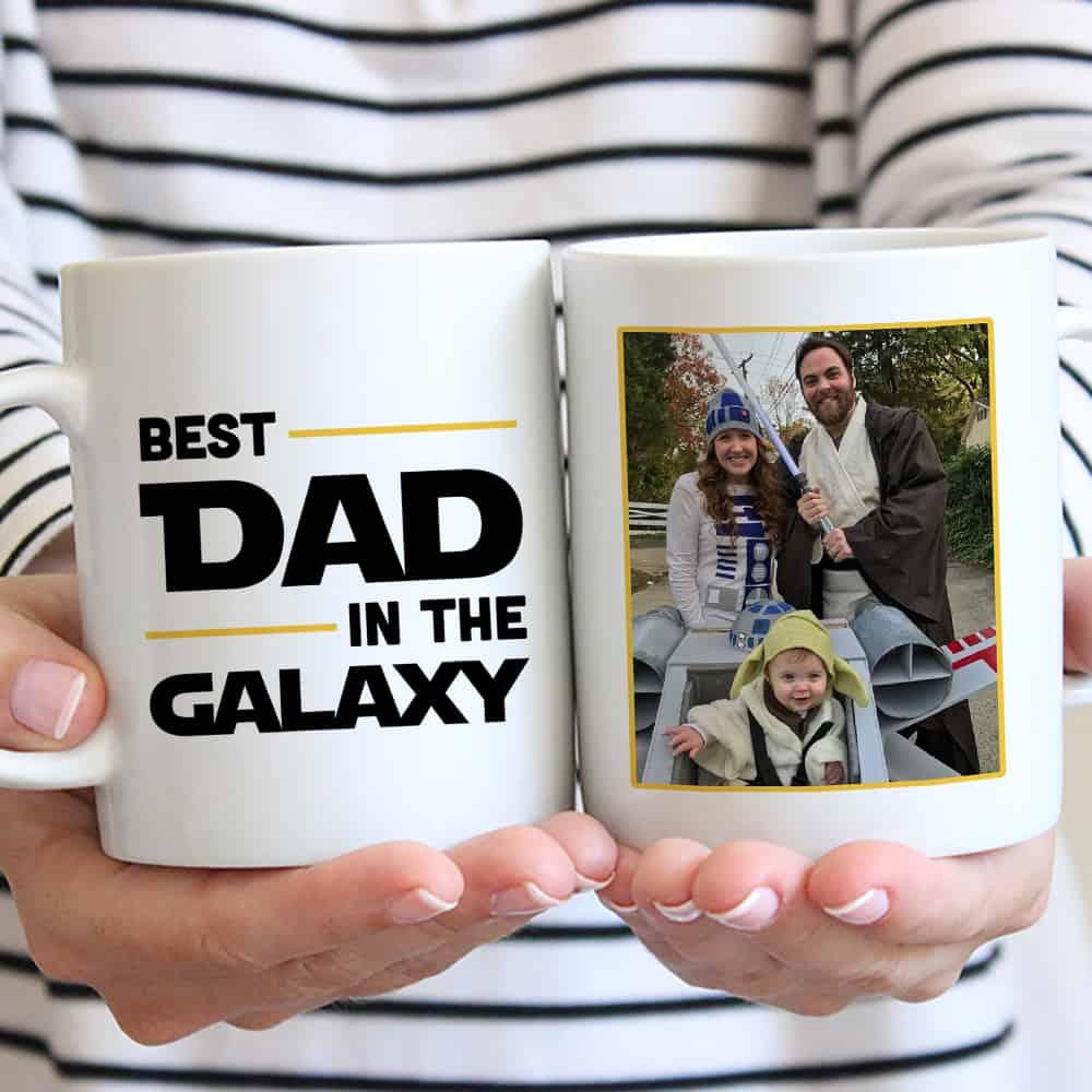 stocking stuffers for men: best dad in the galaxy custom photo mug