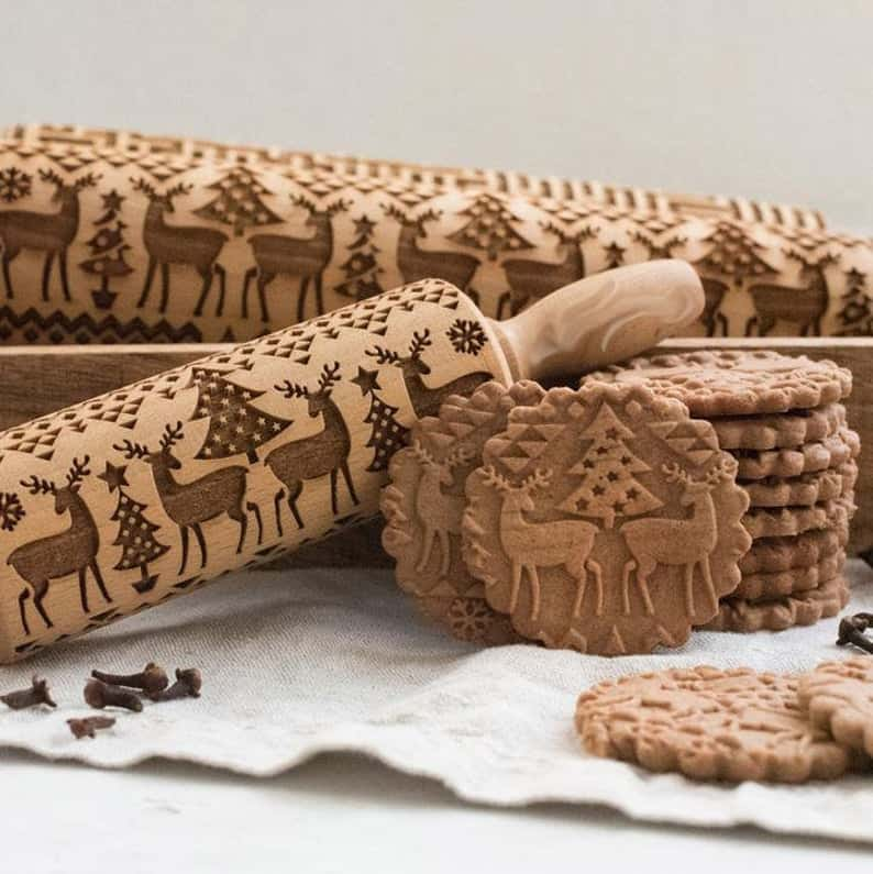 best christmas gifts for mom: Embossed Rolling Pin