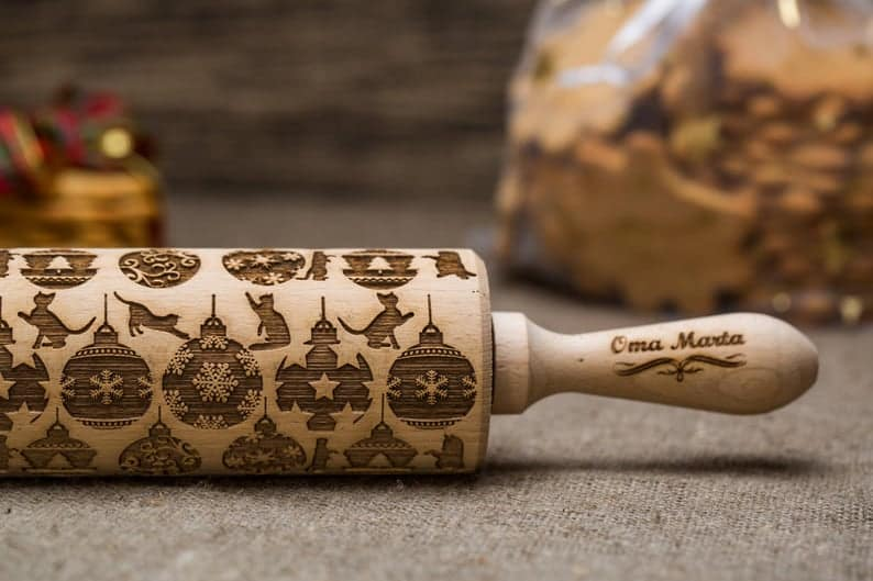 christmas gift for her: embossed rolling pin