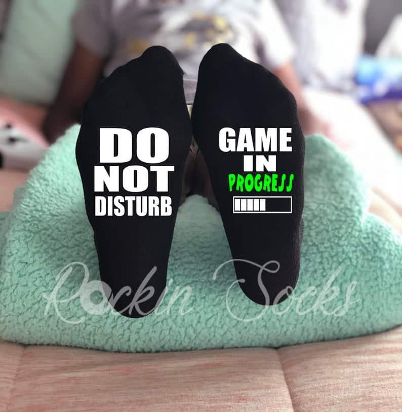 "stocking stuffers ideas for gamer boys: ""do not disturb, game in progress"" socks"