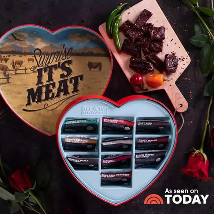 gifts for him: jerky heart box