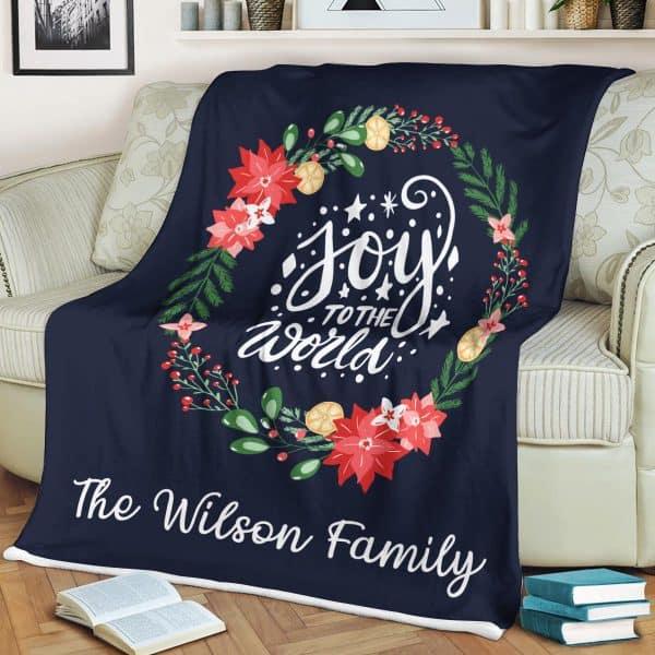 Joy To The World Custom Family Name Blanket