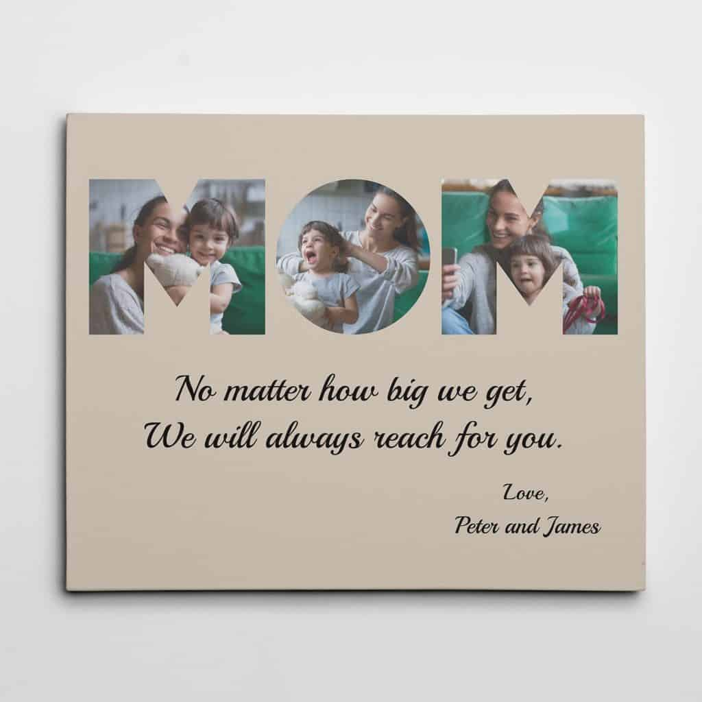 christmas gifts for mom: MOM photo canvas print