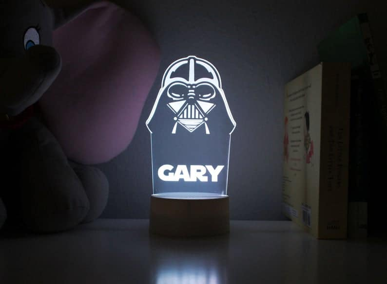 stocking stuffer ideas for kids: Personalized Darth Vader Night Light