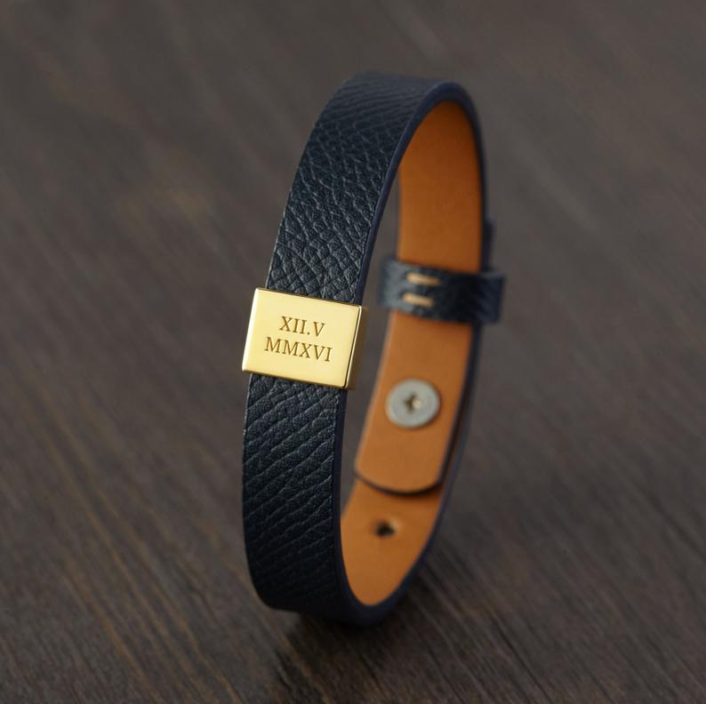 romantic gifts for men: Personalized Leather Bracelet