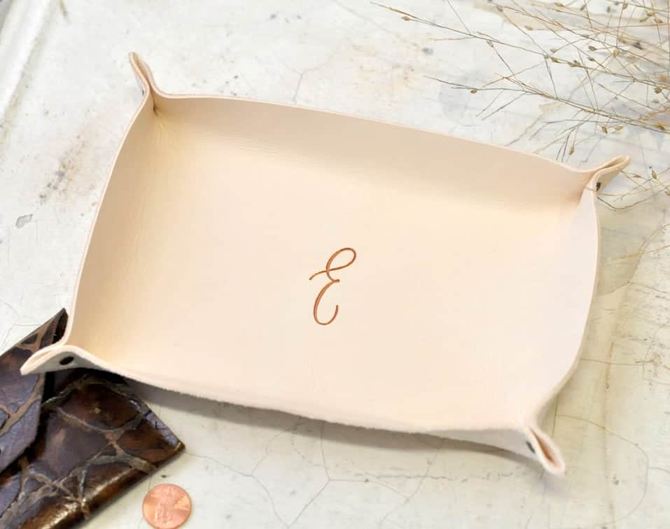 personalized leather catchall tray with initial of mother-in-law