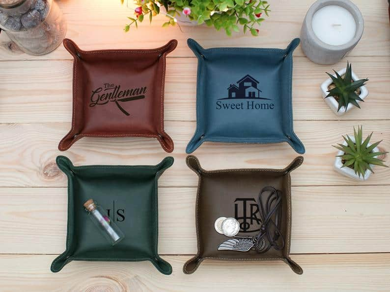 best stocking stuffers for men: Personalized Leather Tray