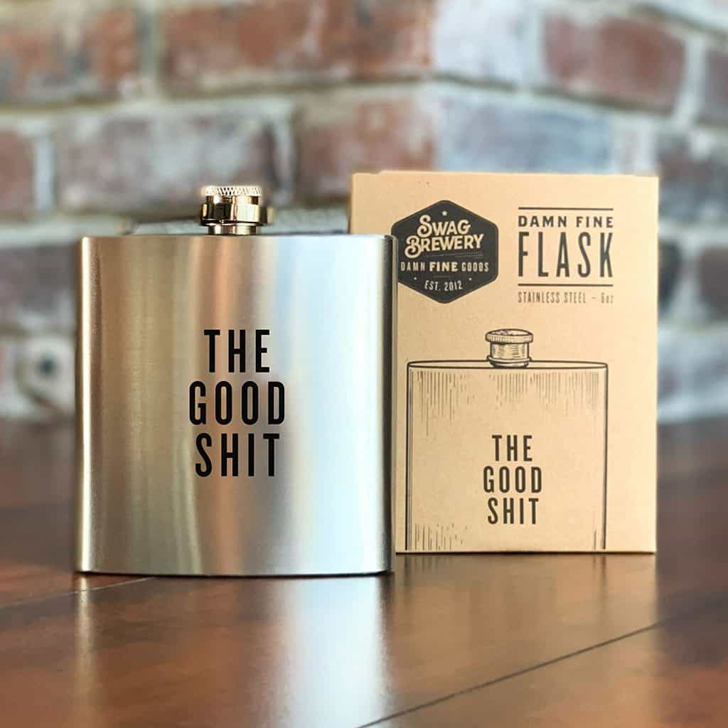 "stocking stuffer ideas for men: ""the good shit"" flask"