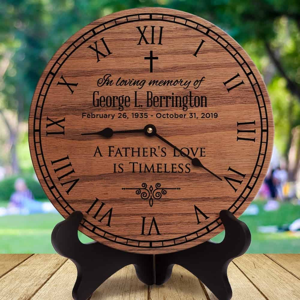 A Father's Love Is Timeless Wooden Clock - A Sympathy Gift For The Loss Of A Father