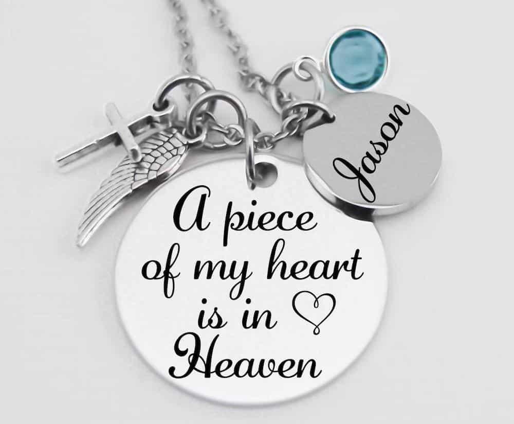 A Piece Of My Heart Is In Heaven - Memorial Jewelry