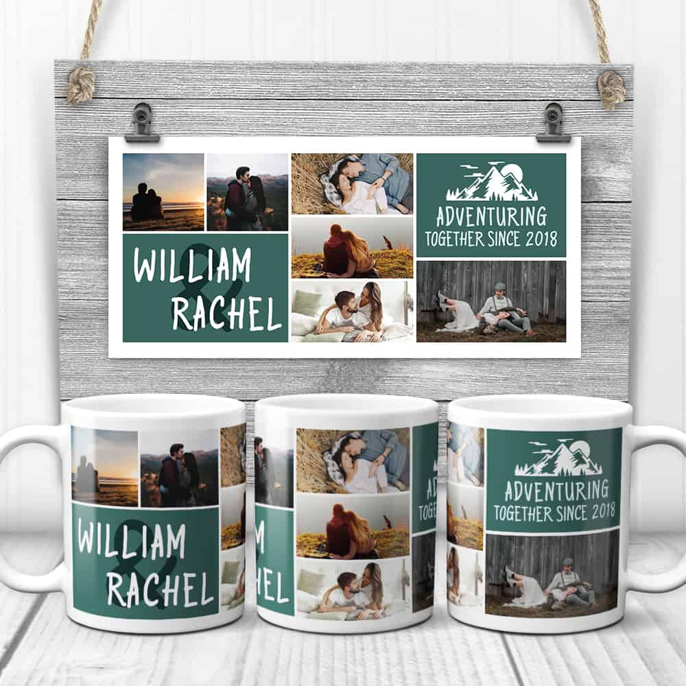 """camping gifts for couples: custom photo collage mug with text """"adventuring together since"""""""