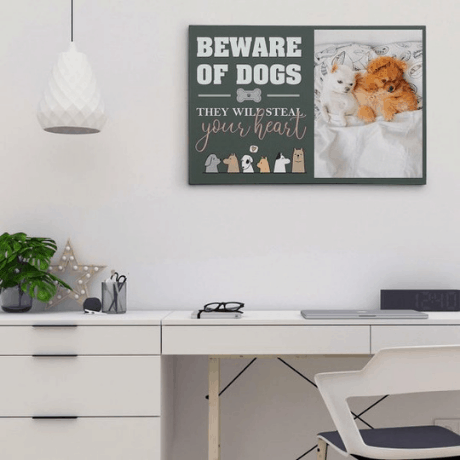 """""""Beware of Dogs, They Will Steal Your Heart"""" Photo Canvas Print - dog mom gifts"""