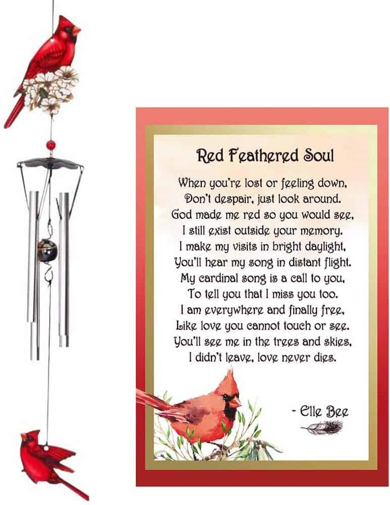 Cardinal Wind Chimes and Red Feathered Soul Poem