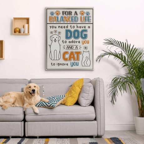 For A Balanced Life – Dog And Cat Funny Canvas Print - dog mom gifts
